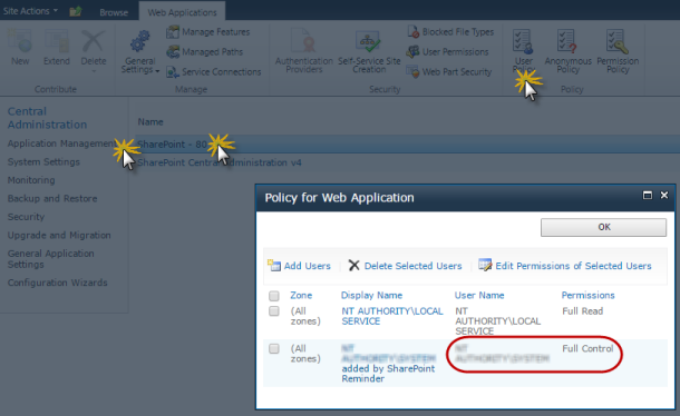 Policy for Web Application