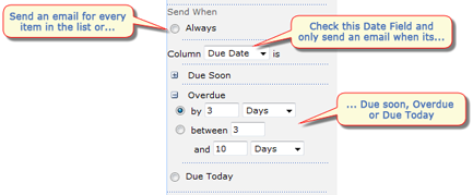 Send When - Always, Due Soon, Overdue, Due Today